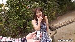 Japanese girlfriend, Nami Honda sucks dick in the park, unce